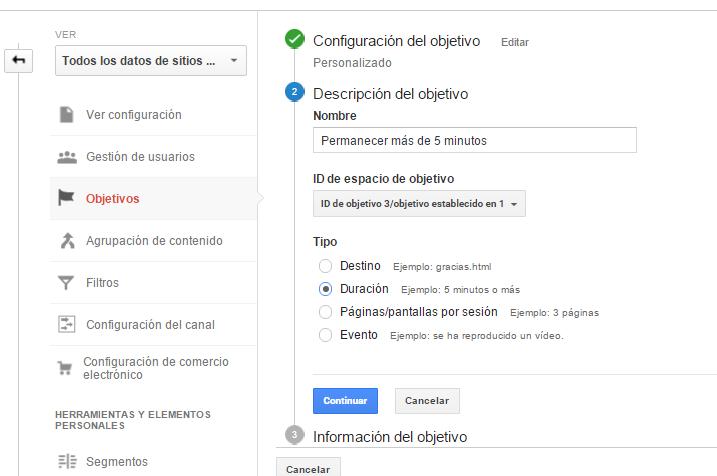 objetivos google analytics,ejemplo