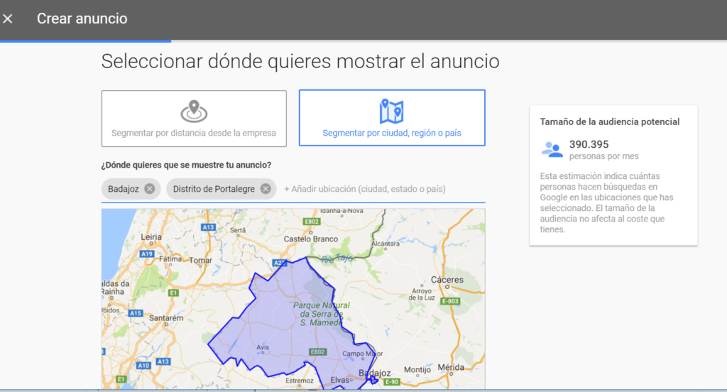 Adwords Express - Segmentación